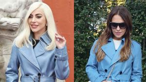 Lady Gaga y Paula Echevarría lucen el mismo 'trench coat' celeste