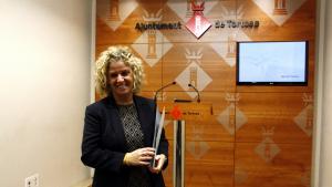 L'alcaldessa de Tortosa, Meritxell Roigé, a la sala de premsa de l'Ajuntament