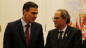 Pedro Sánchez i Quim Torra reunits a Pedralbes abans del 21-D