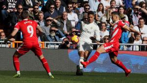 Portu, Granell i Varane, durant el Madrid-Girona de Lliga.
