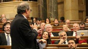 Quim Torra, al Parlament, durant la pugna amb Inés Arrimadas