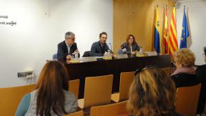 Toquero, Segura i Teruel, durant la presentació de la Guia a Vila-seca