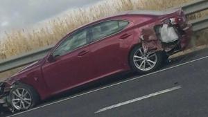 Una imatge del cotxe que ha patit l'accident aquest dimarts al matí a Torredembarra