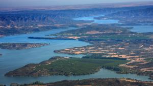Vista aérea del pantano de Caspe, en Aragón