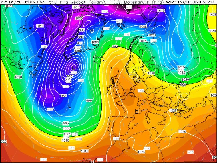 Mapa isobàric a 500 hPa pel dijous 21 de febrer que indica que l'anticicló continuarà