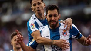 Borja Iglesias celebra el seu gol contra el Valladolid.