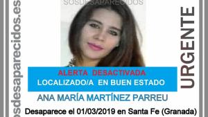 Cartel en el que se anuncia el hallazgo de Ana María en buen estado