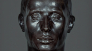 El 'Minero de Almadén', una escultura de l'artista riberenc Julio Antonio