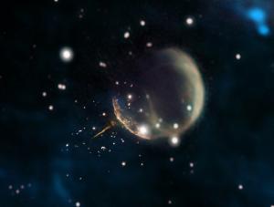El puls de J0002 apuntant al centre de la supernova