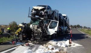 Estat d'un dels vehicles implacts en el fatídic accident.