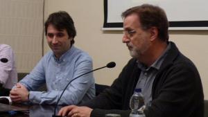 Francesc Murillo i Xavier Salat en un acte a l'Institut d'Estudis Vallencs
