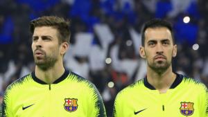 Gerard Piqué i Sergio Busquets, abans del Lió-Barça de la Champions League.
