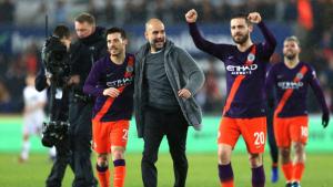 Guardiola celebra amb David Silva i Bernardo Silva l'accés a les semifinals de la FA Cup