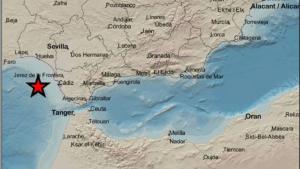 Imagen del epicentro del terremoto ocurrido en el Golfo de Cádiz
