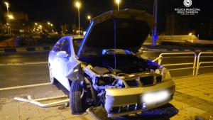 Imagen del estado del vehículo accidentado en Pamplona