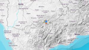 Imagen del lugar del terremoto y los seísmos posteriores, marcados en el mapa