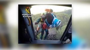 Imagen del operativo de rescate para el ciclista balear