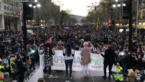 Imatge de la manifestació que s'ha celebrat aquest dissabte a Barcelona en contra de VOX