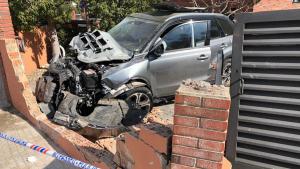 Imatge de l'accident a la rotonda d'Almoster.