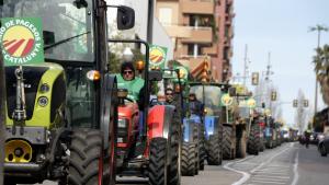 Imatge d'una filera de tractors recorrent l'avinguda Andorra de Tarragona