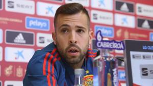 Jordi Alba, durant una roda de premsa amb la selecció espanyola.