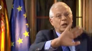 Josep Borrell, durant la pugna a la televisió alemanya