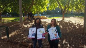 Josep Serra i Ivana Martínez, durant la p`resentació de la campanya al parc de la Ciutat