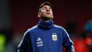 Leo Messi, durant l'Argentina-Veneçuela disputat al Wanda Metropolitano.