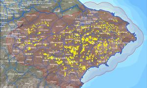 Mapa de parcel·les infectades per la Xylella fastidiosa a la Comunitat Valenciana