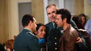 Patricia Ramírez y Ángel Cruz durante la Capilla Ardiente de Gabriel