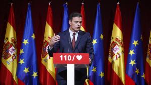 Pedro Sánchez durant la presentació del programa electoral del PSOE