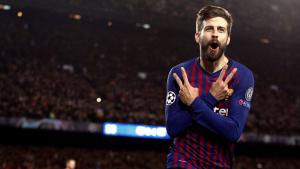 Piqué celebra el seu gol contra el Lió.