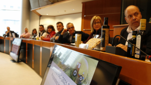 Pla obert de la reunió d'alcaldes i alcaldables d'ERC del Baix Camp i l'Ebre amb el representant de la Direcció General d'Agricultura, Ricard Ramon Sumoy, al Parlament Europeu