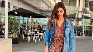 Sara Carbonero en Instagram con un vestido estampado de Mango