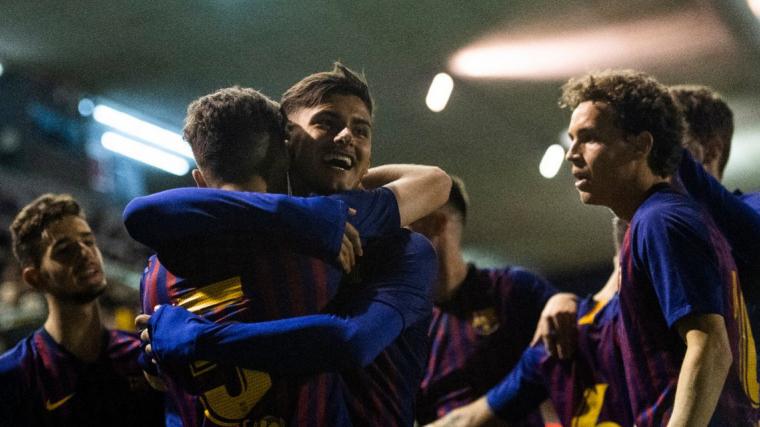 Els jugadors del Juvenil A del Barça celebren un dels gols a l'Hertha de Berlín.