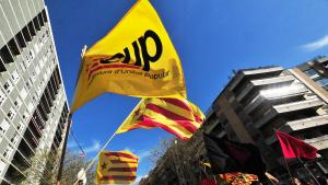 Banderes amb el logotip de la CUP en una manifestació a Tarragona.