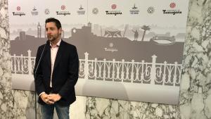 El líder de Ciutadans a Tarragona, Rubén Viñuales, aquest divendres al matí en la seva compareixença de premsa.