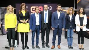 Els candidats per aquest 28-A, amb Sanchis al centre, als estudis de TV3