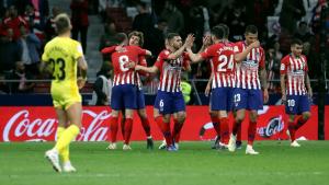 Els jugadors de l'Atlètic de Madrid celebren el gol d'Antoine Griezmann, el 2 a 0 definitiu.