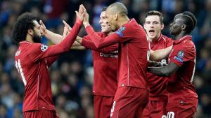Els jugadors del Liverpool celebren un gol a l'Estádio do Dragão.