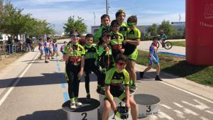 Els participants de l'Escola de Ciclisme del Vallès a la Tercera Jornada de Ciclisme Escolar del Baix Llobregat