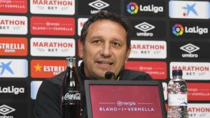 Eusebio Sacristán, durant la roda de premsa prèvia al duel català d'aquest dissabte contra l'Espanyol.