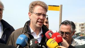 Ferran Bel, aquest Divendres Sant, en l'acte electoral que JxCat ha fet a Creixell.