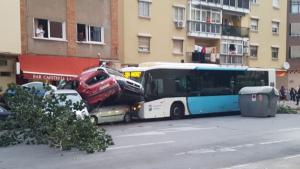 Imagen del accidente del autobús en Málaga