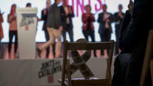 Imatge de la cadira reservada pel conseller Josep Rull a l'acte d'aquest divendres al vespre a Tarragona.