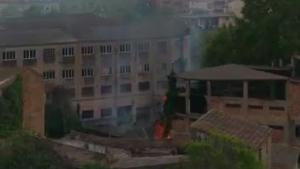 Imatge de l'incendi a l'antiga fàbrica Ca Clols de Valls