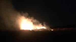 Imatge de l'incendi que va afectar el descampat de les Garrigues, a la Canonja