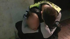 Imatge del moment on l'agent de vigilància redueix a l'agressor