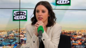 Irene Montero en su entrevista en 'Onda Cero'