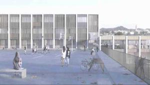 La imatge virtual mostra com serà el futur Institut de Roda de Berà, que anirà a l'emplaçament actual, a la zona escolar del municipi.